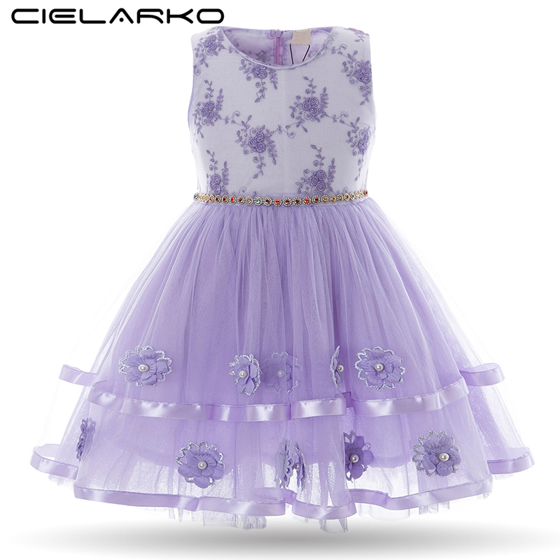 a05a84954e1 Cielarko Girls Dress Flower Baby Birthday Dresses Vintage Princess Pearls  Children Formal Frocks Kids Party Clothes for Girl