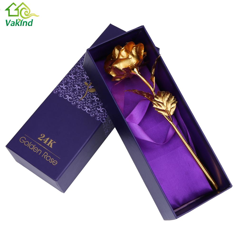 Decorazione Della casa Fiori di san Valentino Regalo 24 K Placcato Oro Rosa Fiore Romantico per Amante Della Ragazza Amico Regali Di Natale