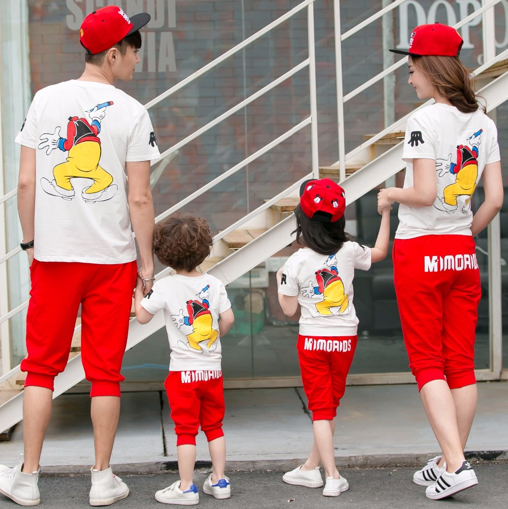 New Family Set Cotton Mother Daughter Father Son Matching Clothes Clothing Parent-Child Sets 3XL ML2