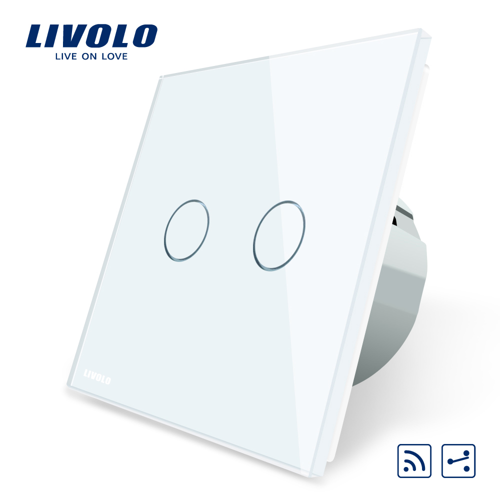 Livolo EU Standard, Touch Remote Switch, White Crystal Glass Panel, 2 Gangs 2 Way, AC 220~250V + LED Indicator,VL-C702SR-1/2/3/5 цена 2016