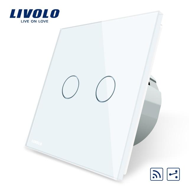 Livolo EU Standard, Touch Remote Switch, White Crystal Glass Panel, 2 Gangs 2 Way, AC 220~250V + LED Indicator,VL-C702SR-1/2/3/5