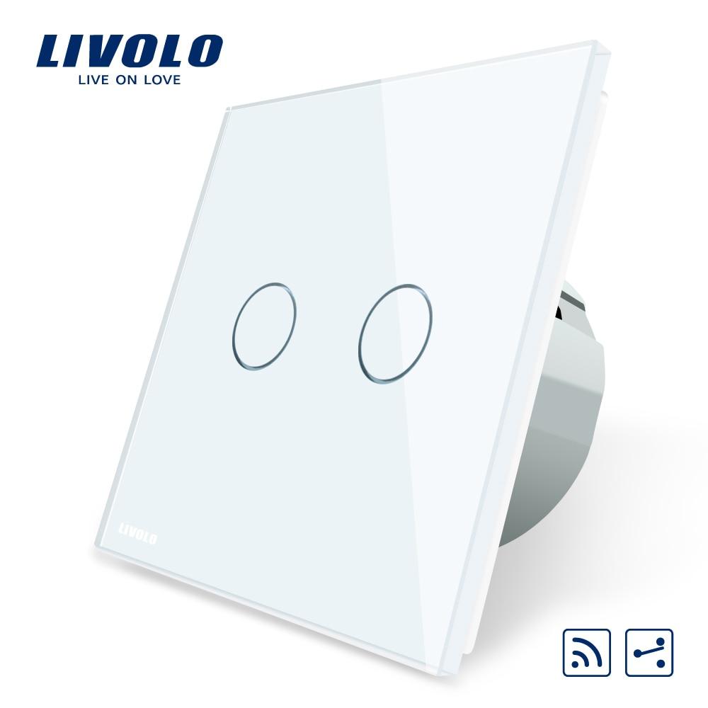 Livolo EU Standard Touch Remote Switch, White Crystal Glass Panel, 2Gang 2Way,AC 220~250V,VL-C702SR-1/2/3/5,No remote controller