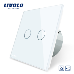 Livolo EU Standard Touch Remote Switch, White Crystal Glass Panel, 2Gang 2Way,AC 220~250V,VL-C702SR-1/2/3/5,No remote controller