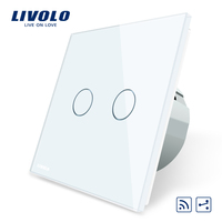 Livolo EU Standard Touch Remote Switch, White Crystal Glass Panel, 2Gang 2Way,AC 220~250V,VL C702SR 1/2/3/5,No remote controller