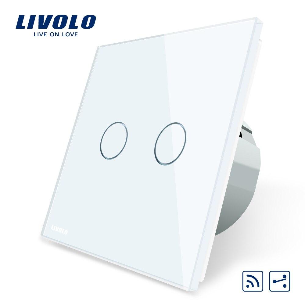 Livolo Tactile Standard de L'UE Interrupteur À Distance, Panneau Verre Cristal Blanc, 2 Gang 2Way, AC 220 ~ 250 v, VL-C702SR-1/2/3/5, Pas de télécommande