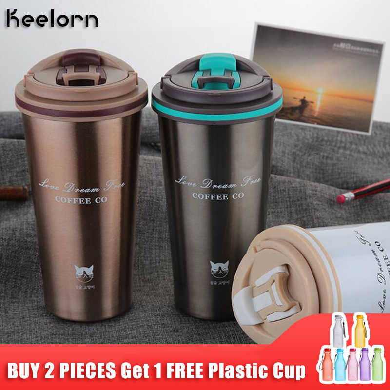 Keelorn Thermos Mok Koffie Beker Met Deksel Thermocup Afdichting Rvs Thermosflessen Thermo Mok Voor Auto Waterflessen