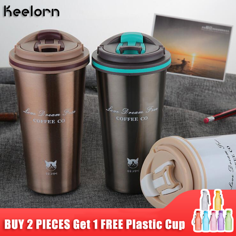 Keelorn 500ML Thermos Mug Coffee Cup with Lid Thermocup Seal Stainless Steel vacuum flasks Thermo mug for Car Water Bottles lid