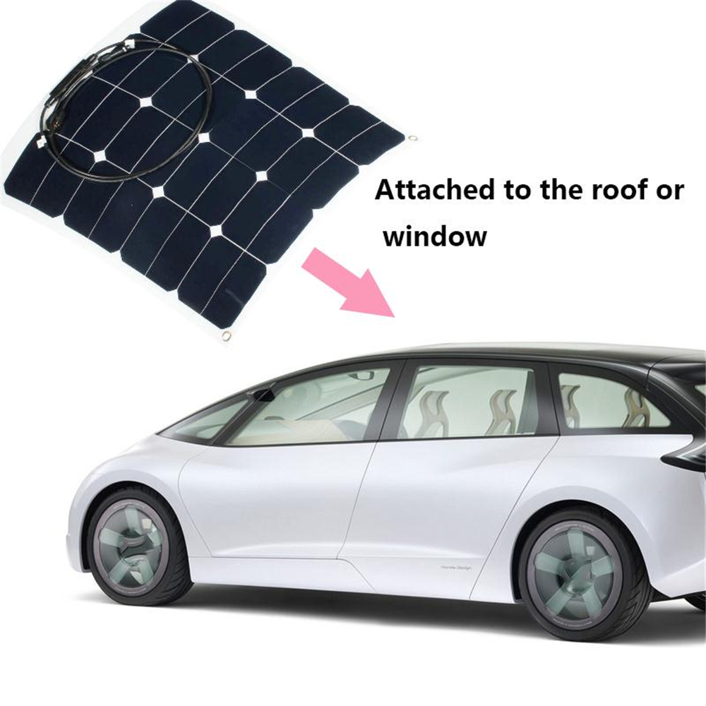 Amzdeal 12v 50w Sunpower Soft Semi Flexible Solar Panel Monocrystalline Tool Solar Cells Power Bank Outdoor Car Phone Charger 1m x 12m solar panel eva film sheet for diy solar cells encapsulant