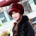 Mujer rusa venta reales de visón de piel con la visión Royal Pom Pom Beanie hechos a mano de piel genuina casquillo para mujer MZ028