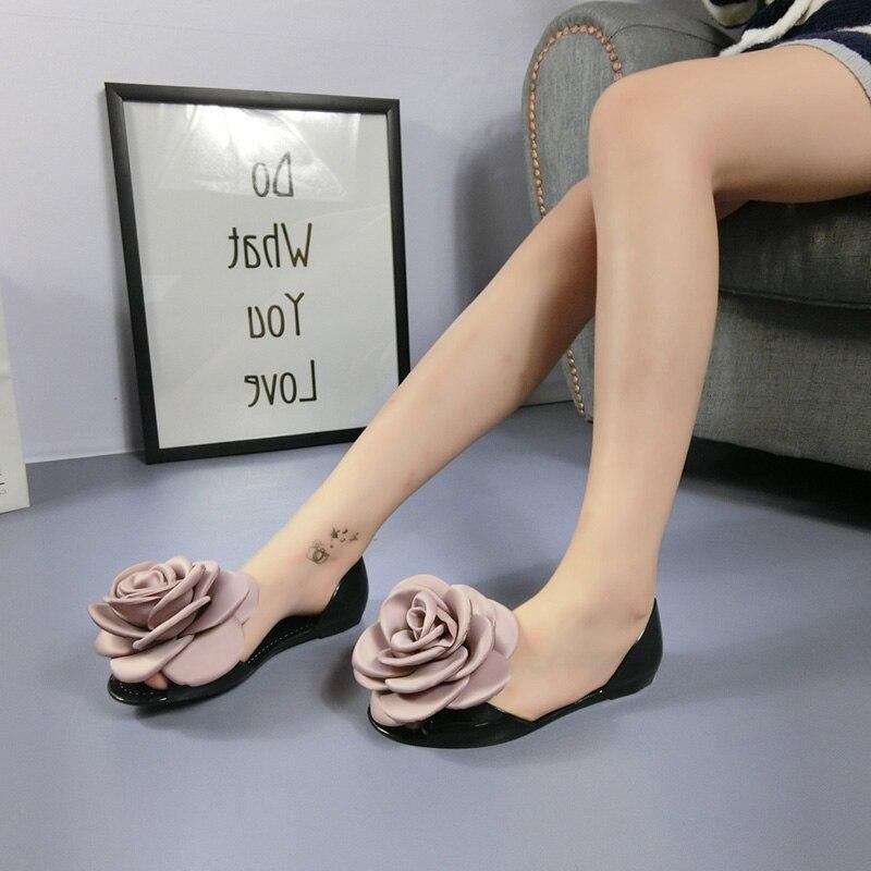 Lzzf summer shoes for women flats jelly Sandals transparent flower peep open toe slip on beach sandalias flip flop shoes woman