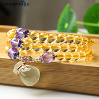 JoursNeige Yellow Natural Crystal Bracelets 6mm Beads Lucky Money Bag Pendant Bracelet for Women Bracelet Multilayer Jewelry