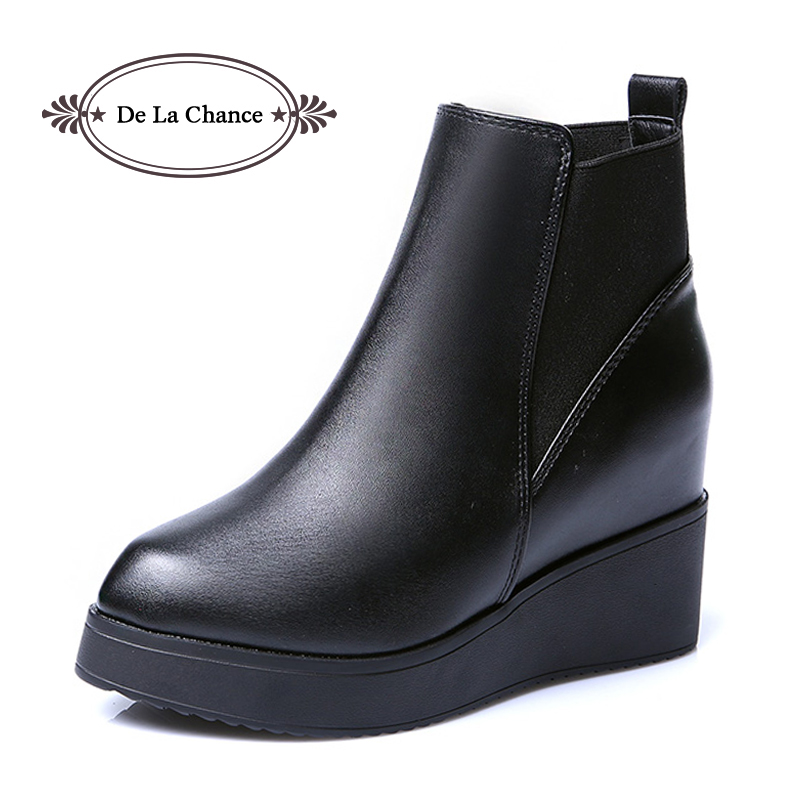 De La Chance 2017 Genuine Leather Autumn Winter Boots Shoes Women Ankle Boots Female Wedge Boots Women Boot Platform Shoes de la chance winter women boots high quality female genuine leather boots work