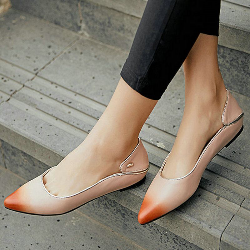 YHJCOO Women Shoes Genuine Leather Fashion Casual Flats Shoe Woman Shallow Slip-On Pointed Toe Elegant Cozy Women Shoes Size 43 enmayer pointed toe summer shallow flats slip on luxury brand shoes women plus size 35 46 beige black flats shoe womens