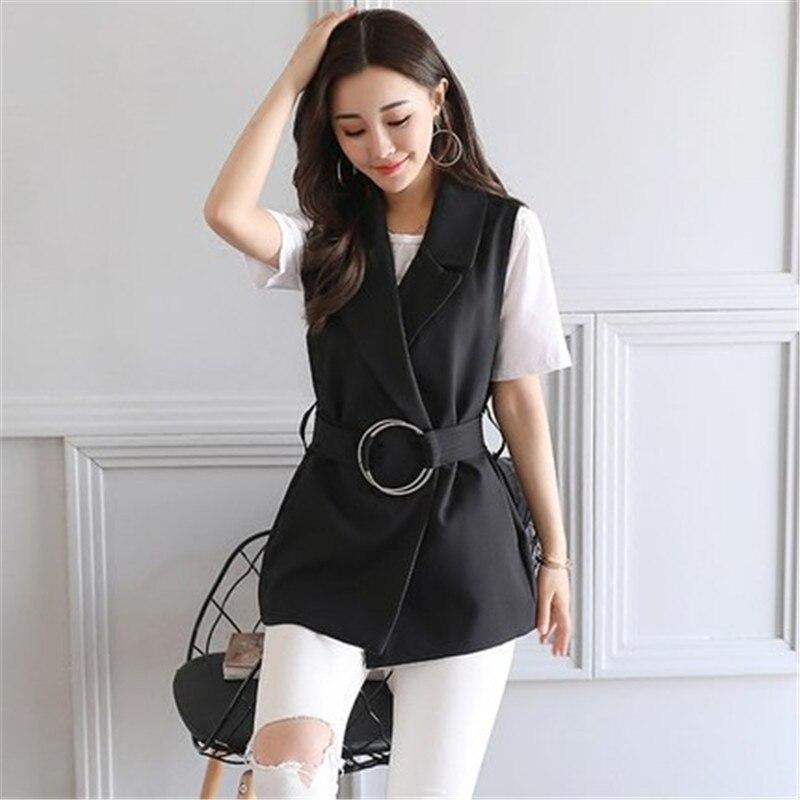 Women Sleeveless Blazer Vest 2017 Spring Autumn Sashes Vest Female Outwear Elegant Blazer Waistcoat Black Ma294
