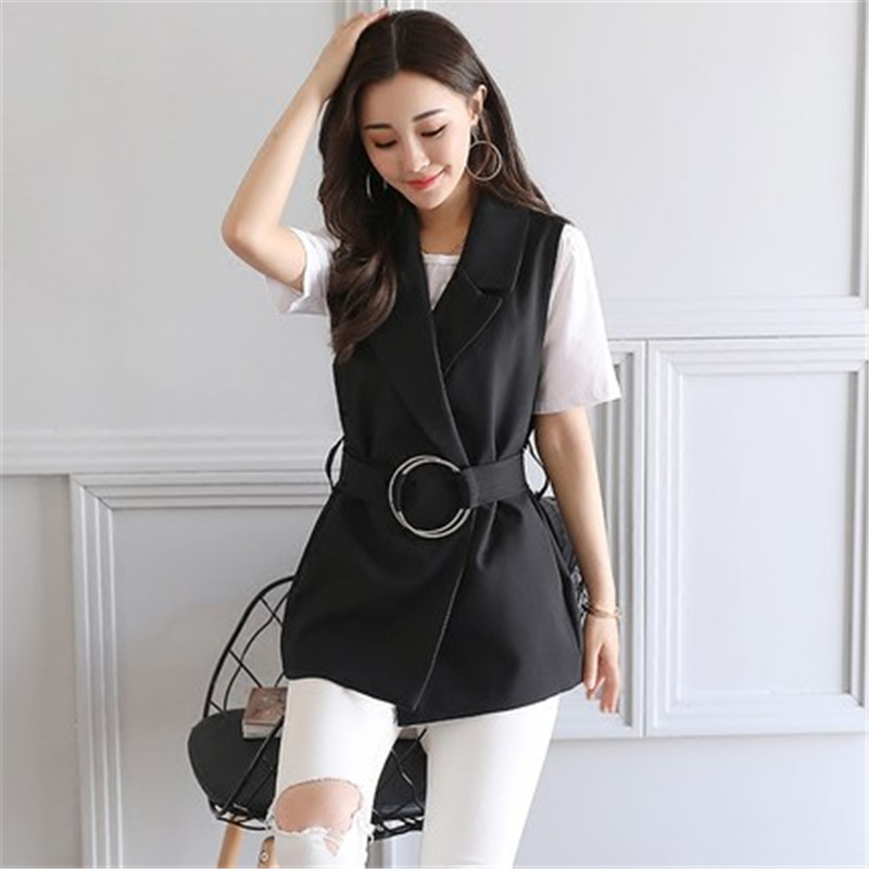 Women Sleeveless Blazer Vest 2017 Spring Autumn Sashes Vest Female Outwear Elegant Blazer Waistcoat Black Ma294