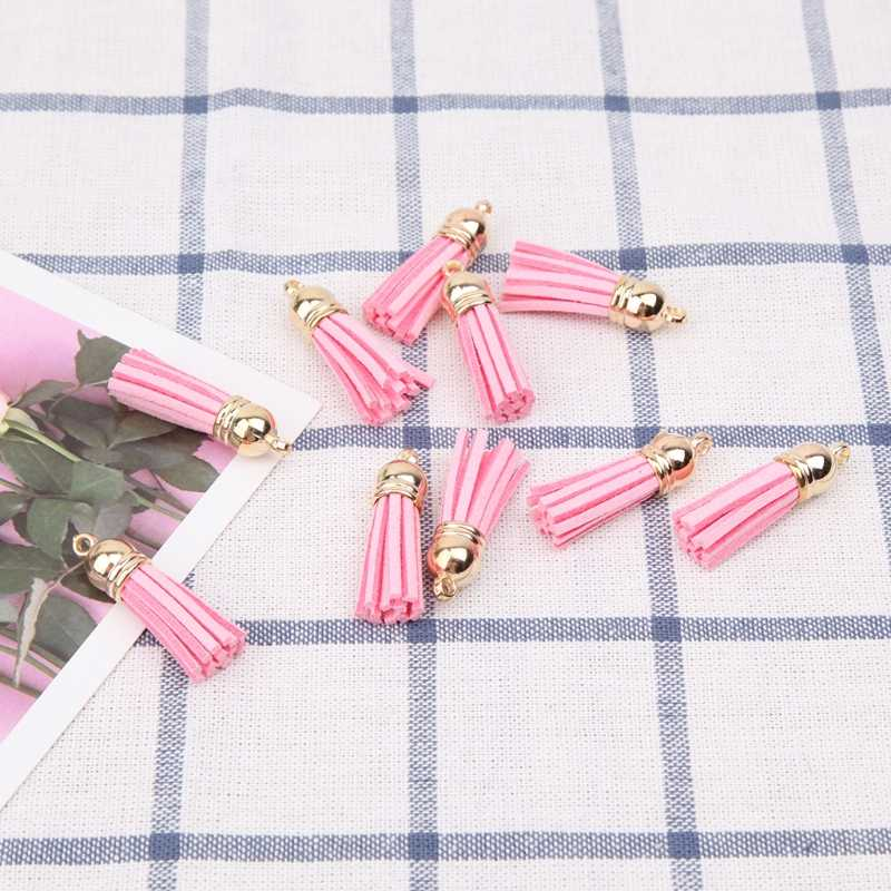 THINKTHENDO 10Pcs Tassel Pendant with Caps Charms Bag Key Chain Straps DIY Decor Accessories