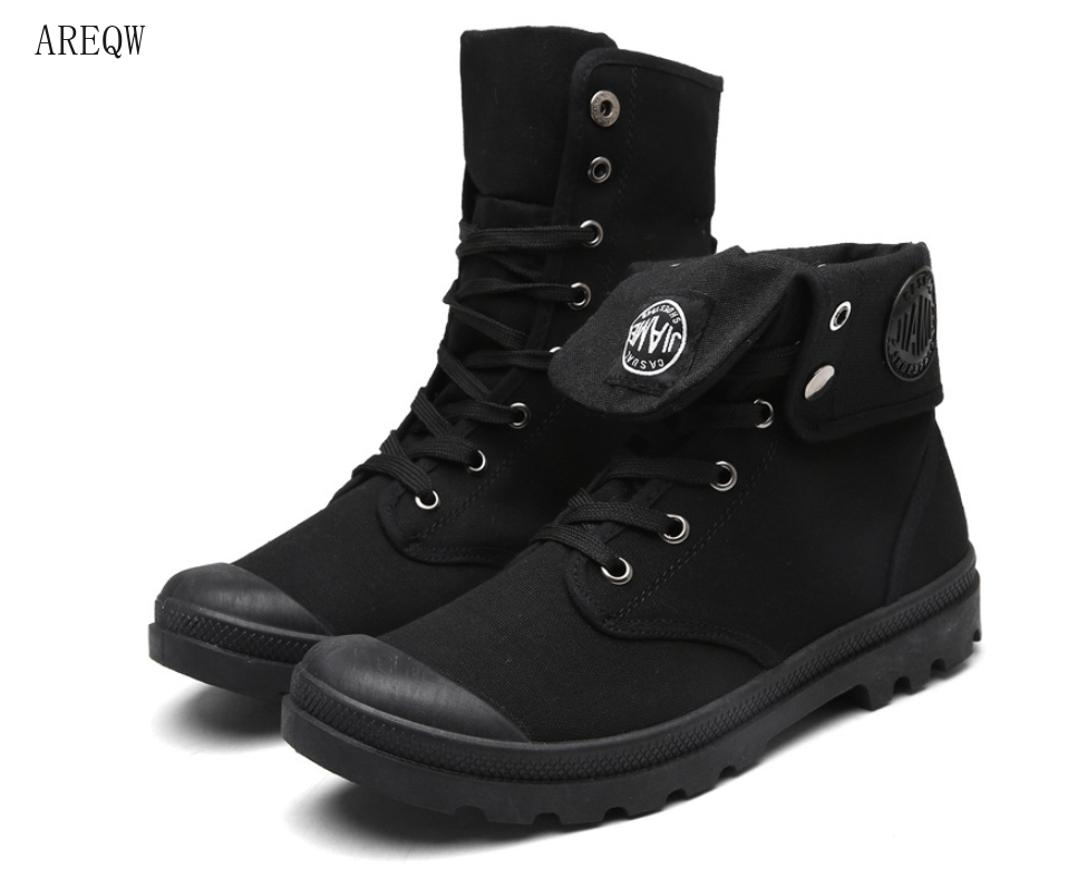 Men High Top Canvas Shoes Military Tactical Boots Desert Combat Outdoor Army Travel Shoes Ankle Boots Gray Black Martin Boots