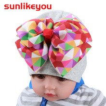Sunlikeyou Toddler Summer Hat For Girl Kids Cap Multicolor Bow Baby Beanie Bonnet Newborn Breathable Infant Cotton Soft Baby Hat newborn baby hat soft pure cotton infant bebe boy girl beanie hospital hat heart baby knitted bonnet cap