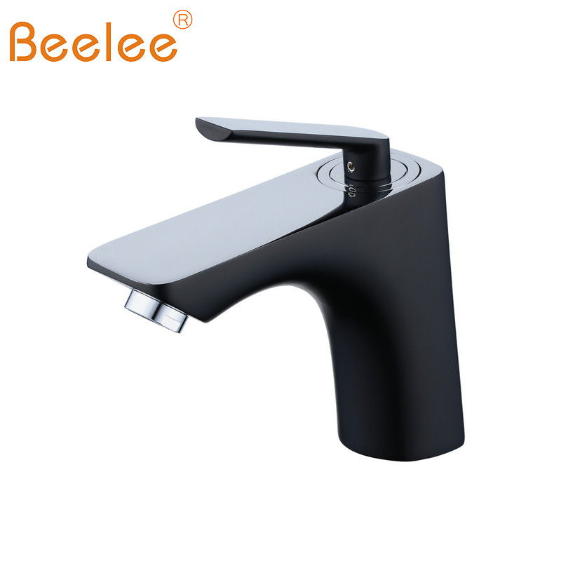 Beelee Black/Chrome Bathroom Faucet Brass Basin Mixer Tap Single ...