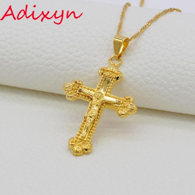 Adixyn new cross pendants necklaces for women gold color jewelry adixyn new cross pendants necklaces for women gold color jewelry crosses ethiopianeritreaindia aloadofball Choice Image