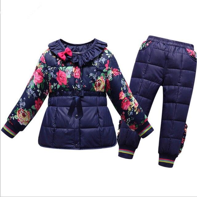 2015 зимние Девушки зимняя одежда набор вниз Лайнера набор мода детские одежды Хлопка-ватник 2 piecesk куртка и брюки