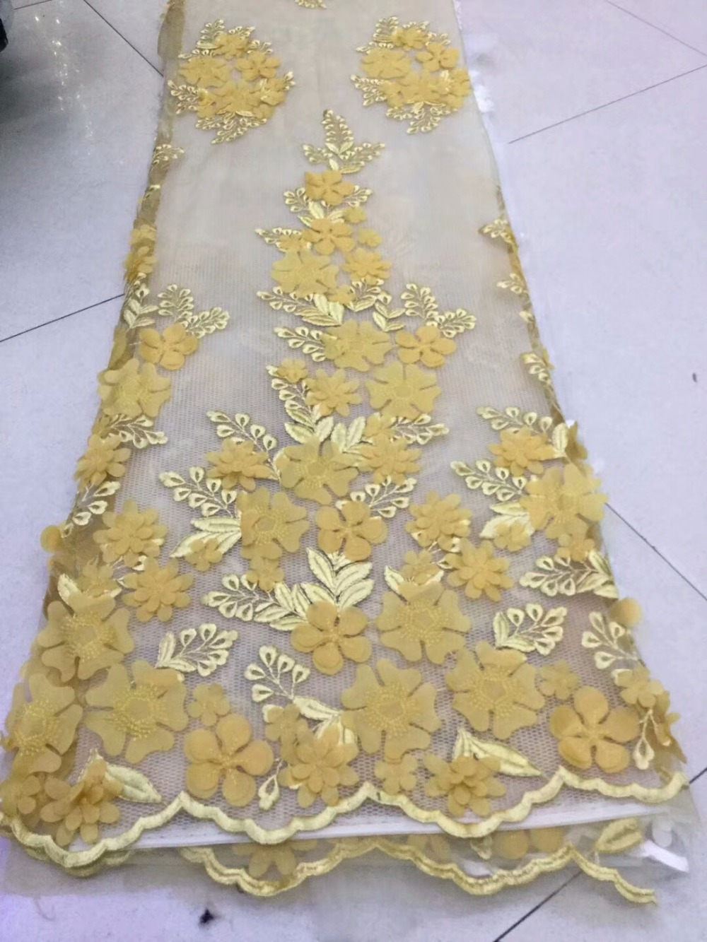 High Quality Nigerian net lace fabrics with 3D flowers Tulle lace 2018 Nigerian Bridal dress Fabrics  dpa222