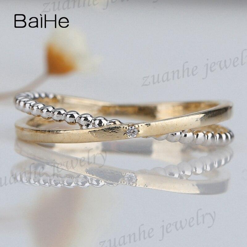 dbe9cc17fd42 Sólido 14 k amarillo oro blanco y oro amarillo u diamantes naturales dama  anillo de compromiso boda aniversario en Anillos de Joyería y accesorios en  ...