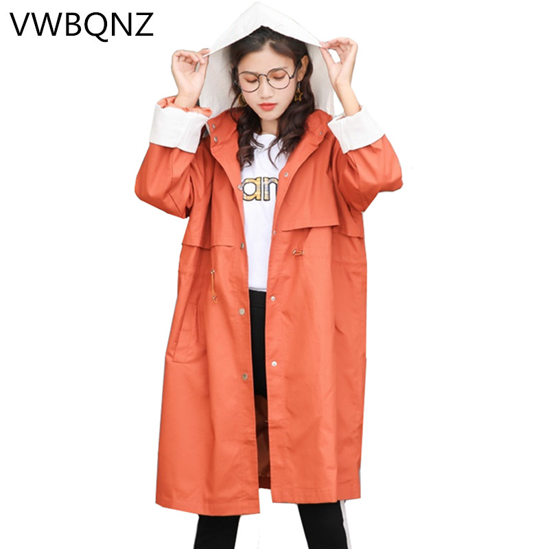 2019 Womens Coat High Quality Long sleeve Spring Long   Trench   Coat Single-breasted For Women Loose Hooded Windbreaker Casual top