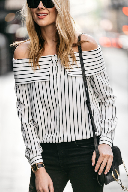 d66fcd84f36400 AEL 2017 Ladies summer tops street photography Fashion blogger womens long  sleeve stripes Blouse boat neck
