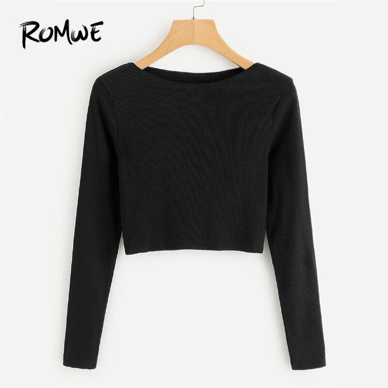Romwe Ribbed Knit Crop Black Tee Shirt Female Boat Neck -6212