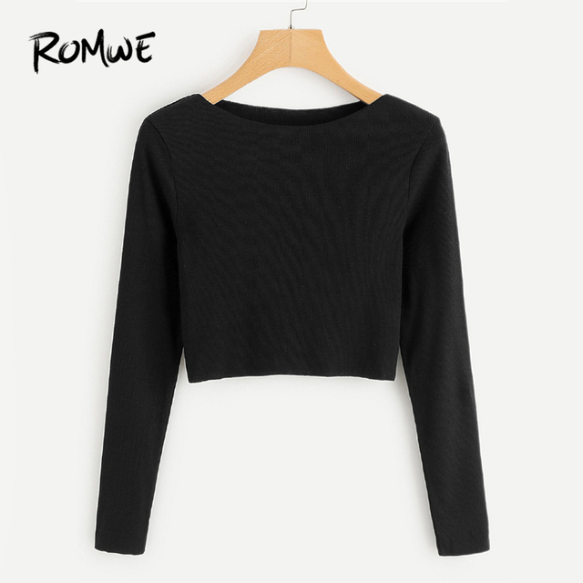 5d3d76db ROMWE Ribbed Knit Crop Black Tee Shirt Female Boat Neck Long Sleeve Elegant  Clothing Autumn Women Top Casual Crop Plain T-Shirt