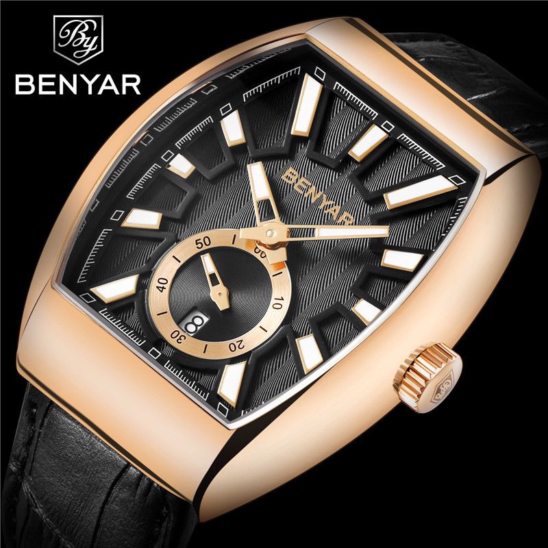 BENYAR Men Watch Waterproof Sport Genuine Leather Mens Wrist Watches Top Brand Luxury Business Military Army Man Clock Gift 5136