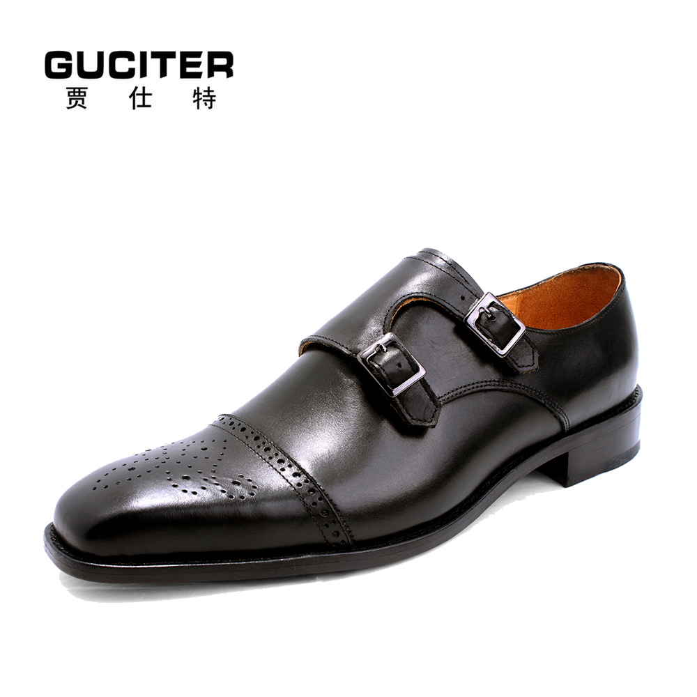 Free Shipping Italy technology designer mens shoes  handmade Goodyear Monk shoes atmosphere square head custom made shoes