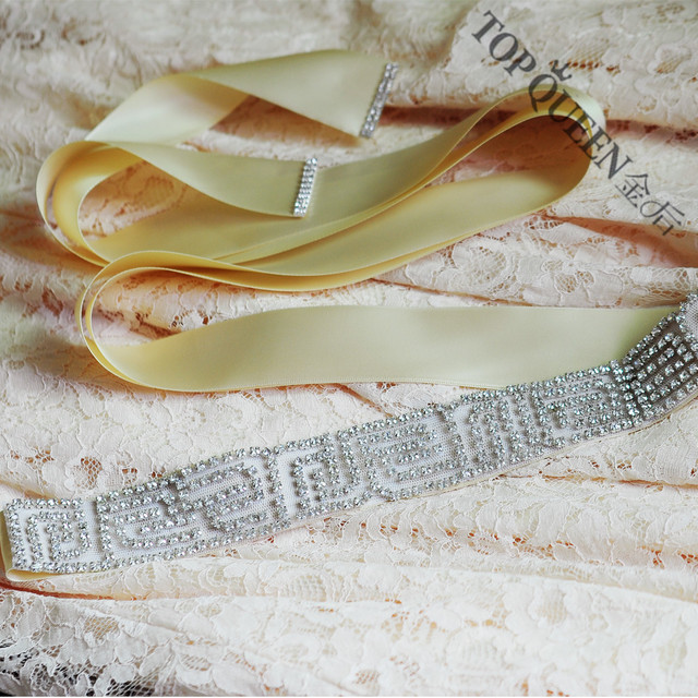TOPQUEEN S271 Bridal Sashes For Wedding Dress Floral Beads Crystal Rhinestones Satin Belt Wedding Accessories Fashion Seller