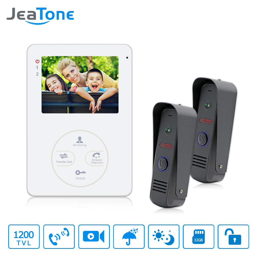 jeatone video phone home intercom audio doorbell 3 7mm pinhole cameras with 4 indoor monitor screen wired office intercom [ 1000 x 1000 Pixel ]