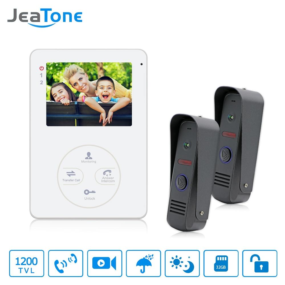 "Jeatone Video Phone Home Intercom Audio Doorbell 3.7mm Pinhole Cameras With 4 "" Indoor Monitor Screen wired office intercom"