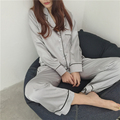 Korea fashion silk comfortable women pajamas loose lapel long sleeve home pajamas suit female sleepwear