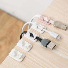 12pcs/set Cute Tabletop Wire Earphone Sticker Mini Line Clamp Protector Cord Desktop Home Office Organizer USB Random Color