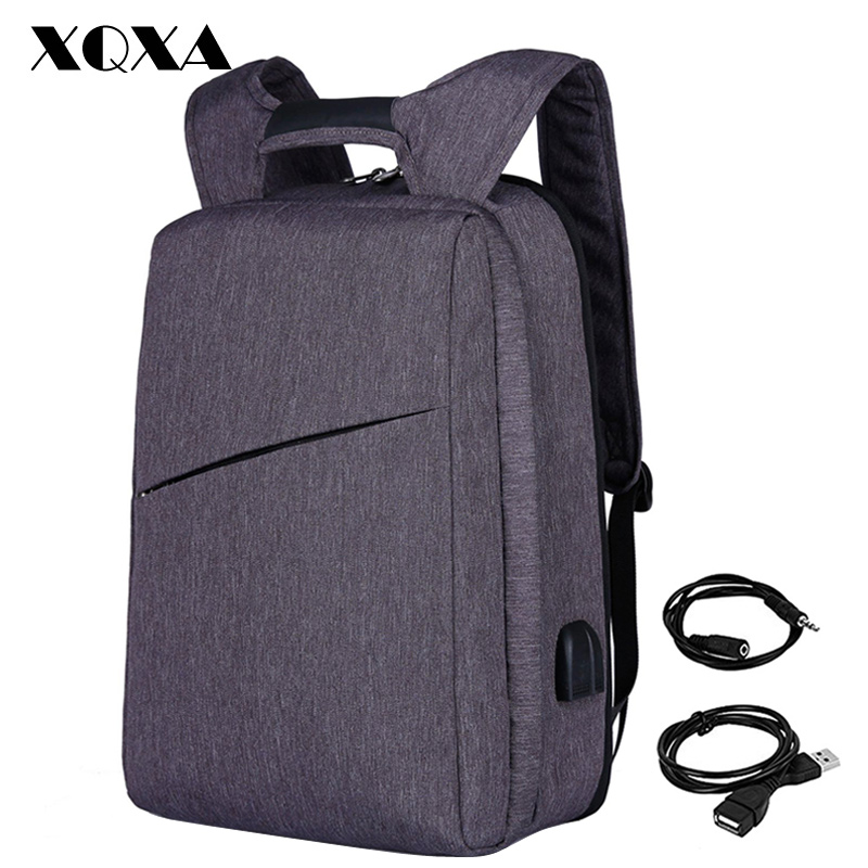 XQXA Slim Laptop Backpack for Men/Women with USB& Headphone Port Anti Theft Business Backpack Unsex 17.3 Daily Bagpack Gray slim xl backpack