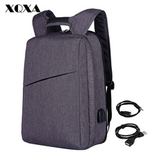 "XQXA Slim Laptop Backpack for Men/Women with USB& Headphone Port Anti Theft Business Backpack Unsex 17.3"" Daily Bagpack Gray(China)"