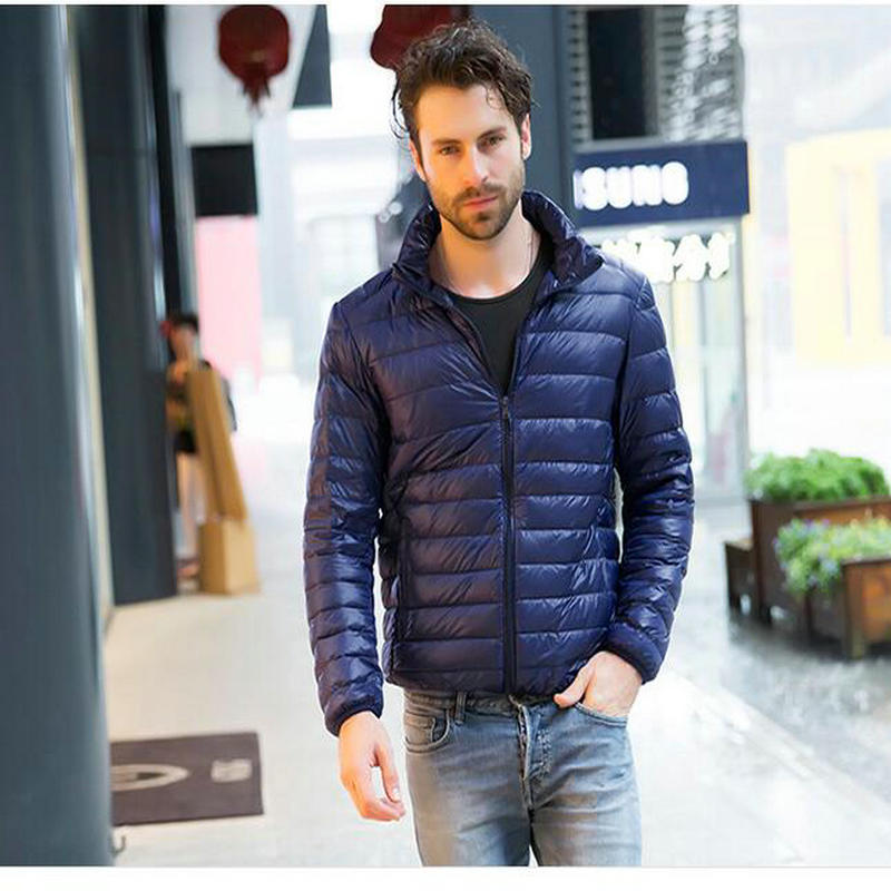 New High-end Warm Fashion for Men Feather Hooded   Down   Jacket Pure Color Boutique Mens Feather   Down     Coat   Thin Light Jackets MA-26