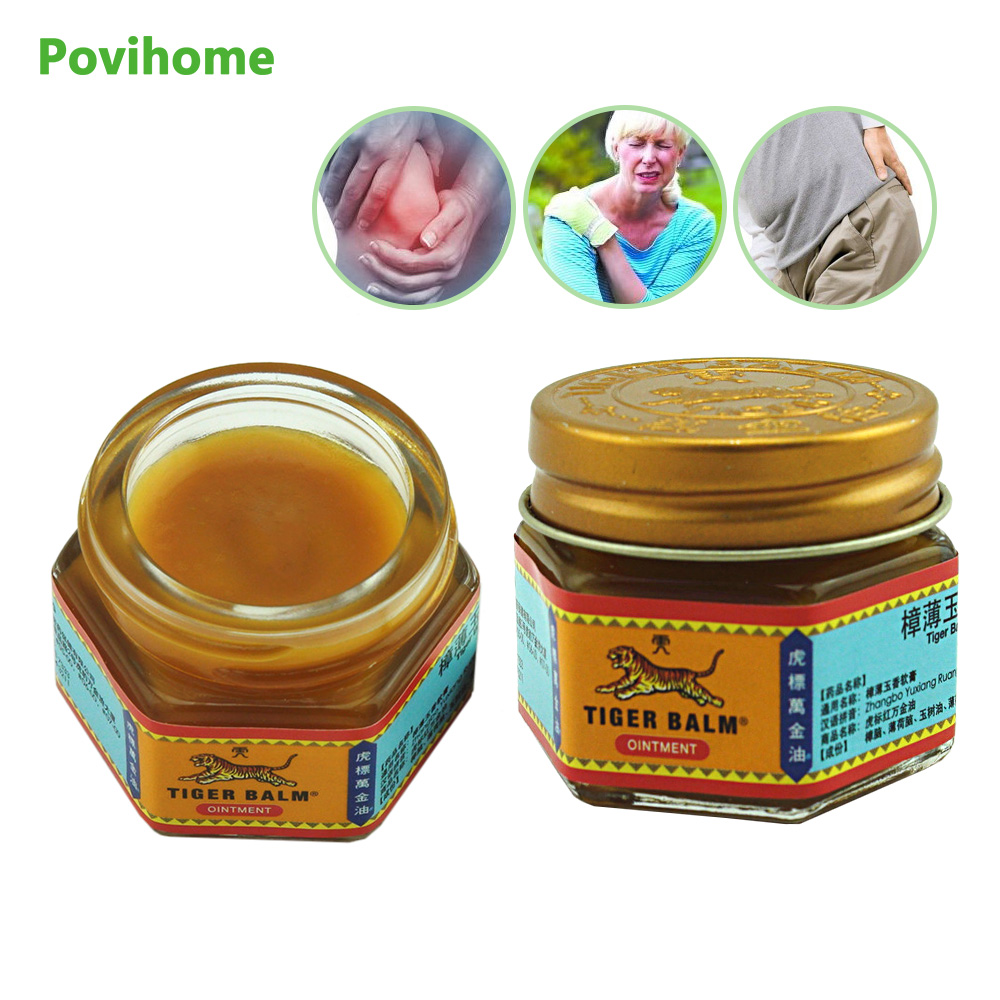 Povihome 2Pcs/Bag 100% Natural Original Red/White Tiger Balm Thailand Painkiller Ointment Muscle Pain Relief Soothe Itch