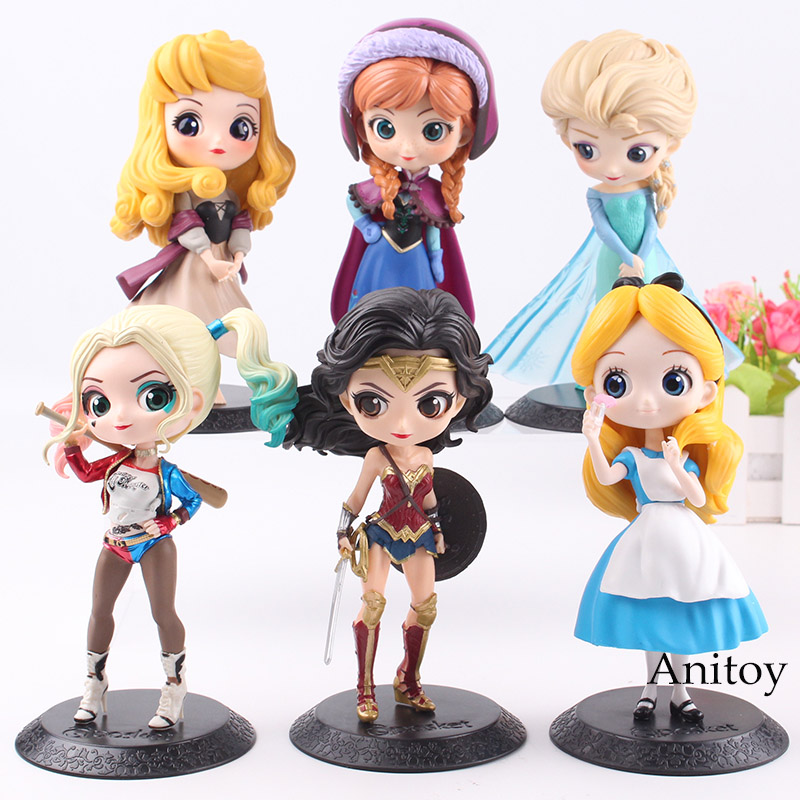 Q Posket Princess Doll Aurora Alice Anna Elsa Wonder Woman Harley Doll PVC QPosket Characters Figures Girls Toys Gifts