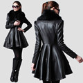 Women's leather jacket New winter fur collar leather Slim fit medium-long windbreaker female jacket coat ladies XS-5XL
