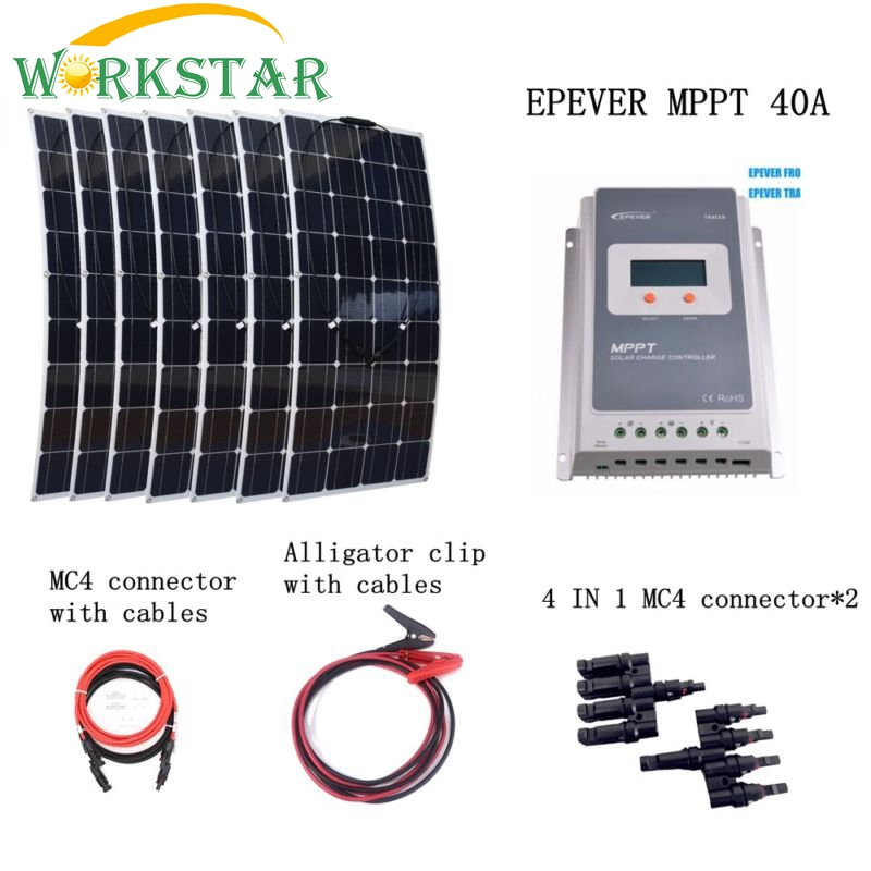 7*100W Flexible Solar Panel Charger+MPPT 40A Controller with Extended Cables Houseuse 700W Solar Power System Kit Solar Charger
