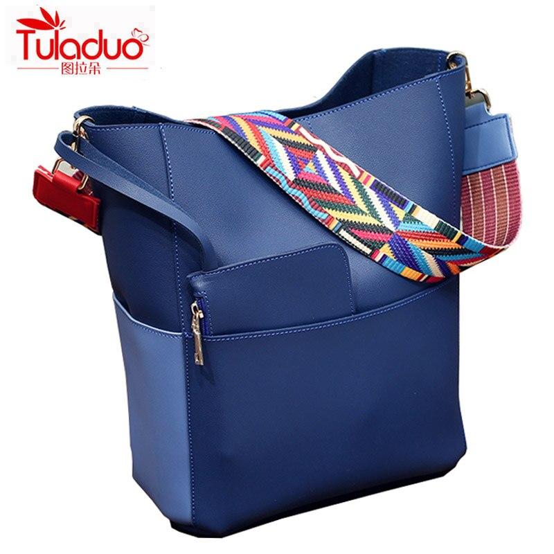 TULADUO Brand 2017 Fashion Color Shoulder Strap Women Bucket High Quality PU Lea