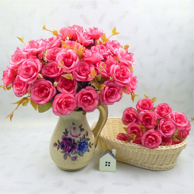 Hecha A Mano Artificial Persia Rose Cabezas de Las Flores Para La Boda Decoració