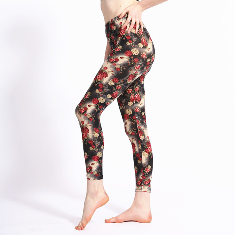 New Arrival Red Rose Flowers Printing Women   Leggings   High Waist Polyester/Spandex Soft Material Sexy Elastic Fitness   Legging