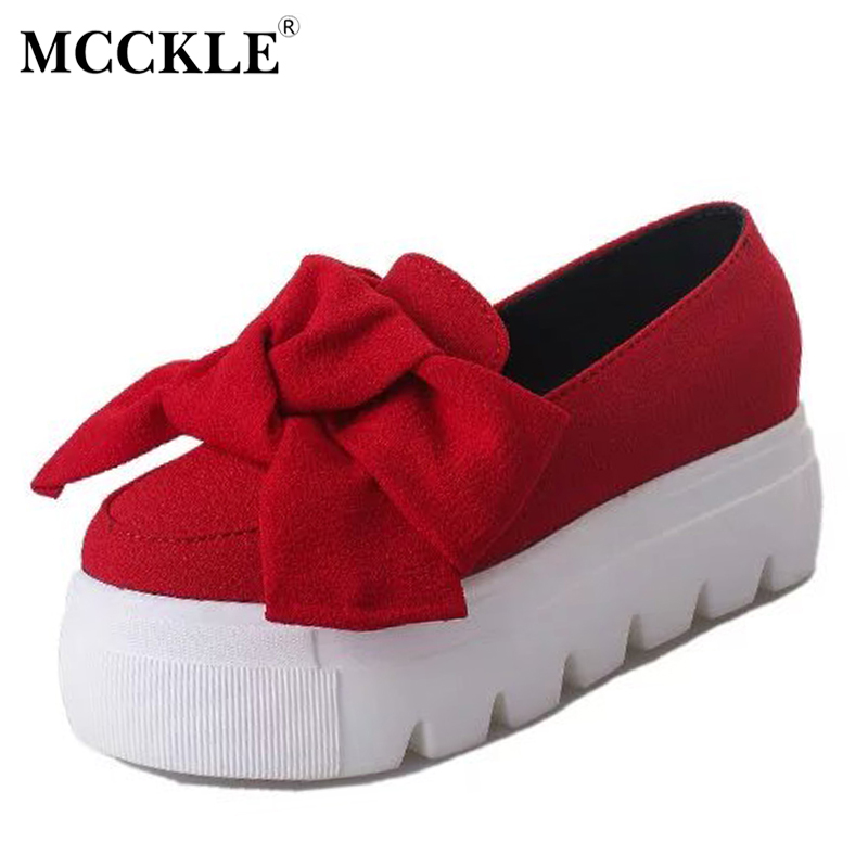 MCCKLE Women Fashion Butterfly Knot Spring Autumn Flat Platform Shoes Female Shallow Slip On Flock Creepers Footwear Shoes Black fashion women leopard patchwork peas shoes with butterfly knot korean style casual soft pu flat shoes female 2017 or910000