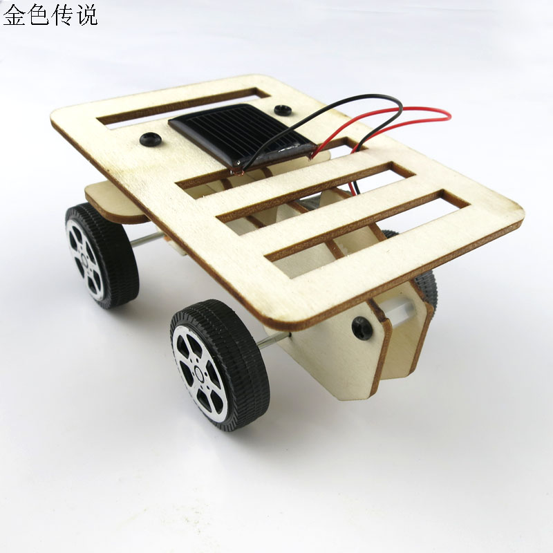 F17931 New arrival Self assembly DIY Mini Wooden Car Model Solar Powered Kit 4WD Smart Robot